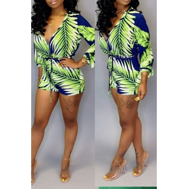 Lovely Casual Plants Printed Green One-piece Romper