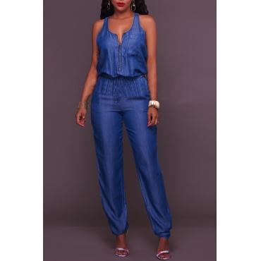 Lovely Trendy Sleeveless Blue One-piece Jumpsuit