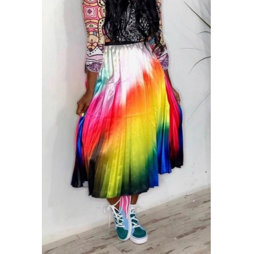 Lovely Casual Gradual Change Multicolor Ankle Length Skirts