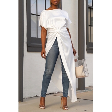 Lovely Trendy Asymmetrical White Blouse