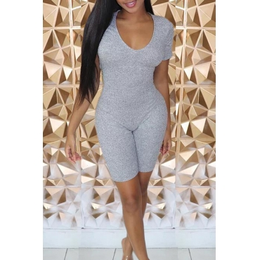 Lovely Casual V Neck Skinny Grey One-piece Romper