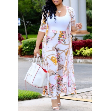 Lovely Casual Printed White Two-piece Pants Set(Without T-shirt)
