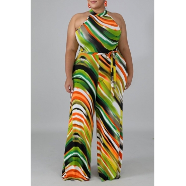 Lovely Casual Geometric Printed Multicolor Plus Size One-piece Jumpsuit
