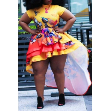 Lovely Trendy Asymmetrical Yellow Mini Plus Size Dress