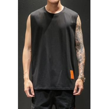 Lovely Casual O Neck Sleeveless Black Vest