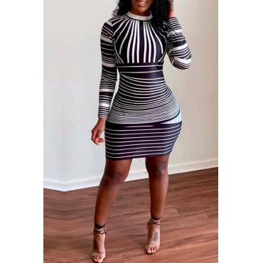 Lovely Trendy Striped Black Dress