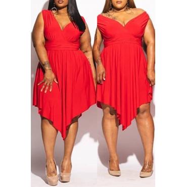 Lovely Party V Neck Sleeveless Red Ankle Length Plus Size Dress