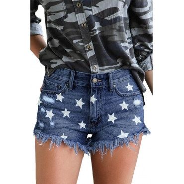 Lovely Casual Printed Deep Blue Shorts