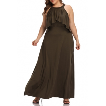 Lovely Casual O Neck Dew Shoulder Army Green Dress
