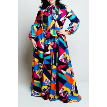 Lovely Leisure Geometric Printed  Multicolor Floor Length Plus Size Dress