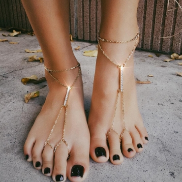 Lovely Trendy Rhinestone Decorative Gold Alloy Anklet