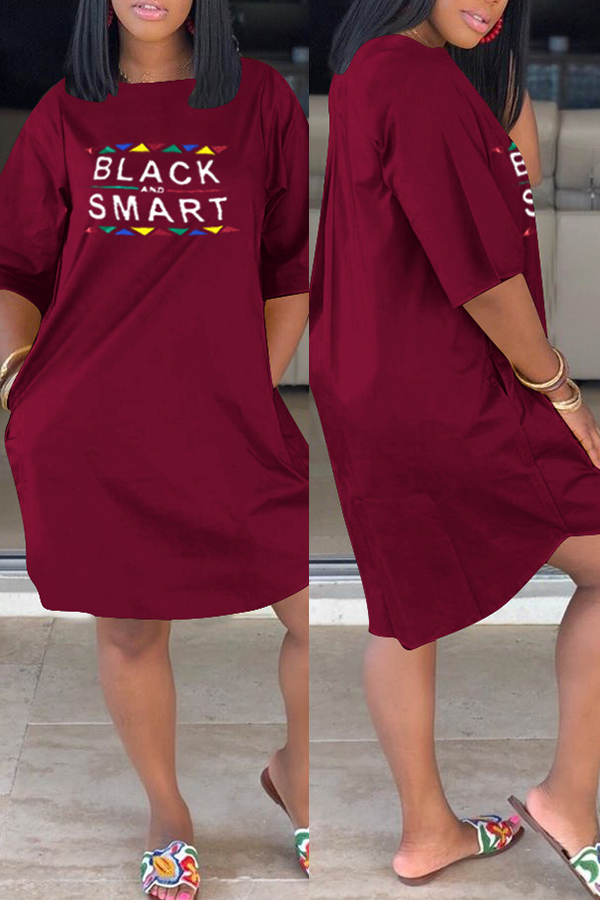 Lovelywholesale coupon: LW Casual Letter Printed Wine Red Knee Length Dress