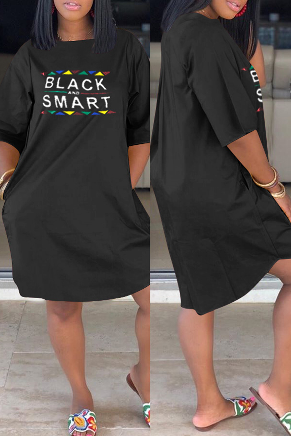 Lovely Casual Letter Printed Black Knee Length Dress фото