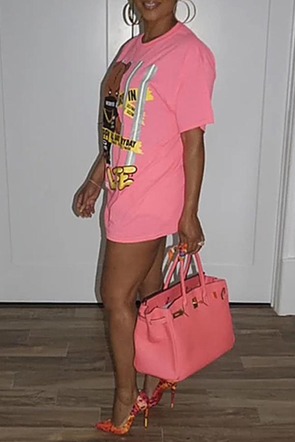 Lovely Trendy O Neck Pink T-shirt
