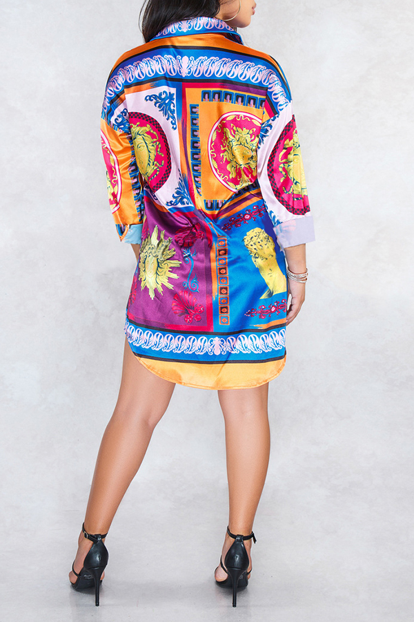 Lovely Work Printed Multicolor Mini Dress(Without Belt)