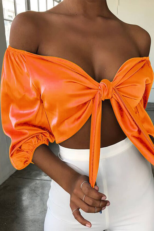 Lovely Leisure Off The Shoulder Orange Blouse
