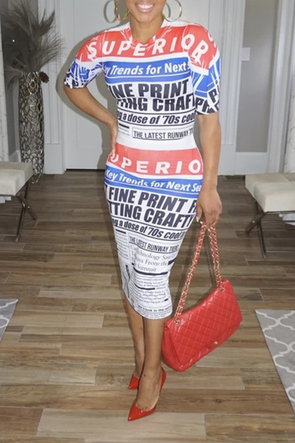 Lovely Casual Letter Printed White Mid Calf Dress