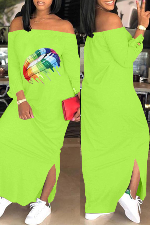 Lovely Casual Lip Printed Green Ankle Length Dress