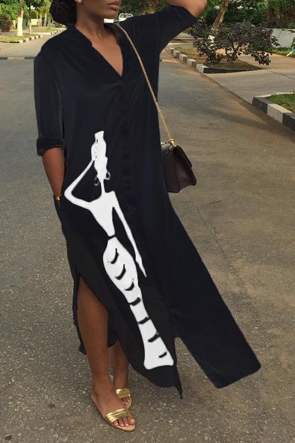 Lovely Casual Printed Slit Black Ankle Length Dress