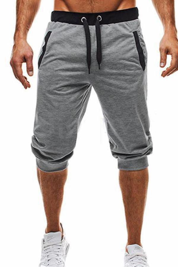 Lovely Casual Mid Waist Drawstring Design Light Grey Shorts