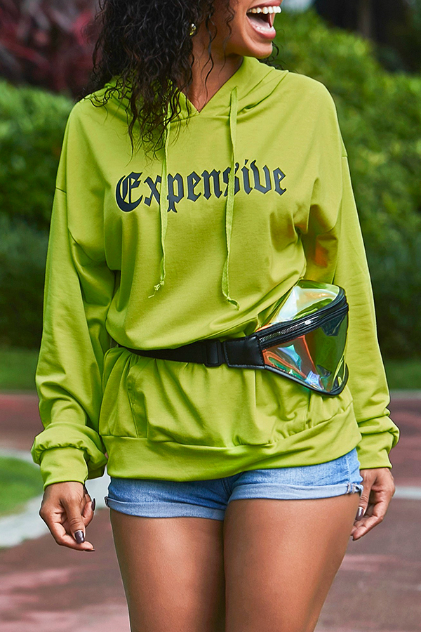 Lovely Casual Hooded Collar Letter Printed Green Hoodies