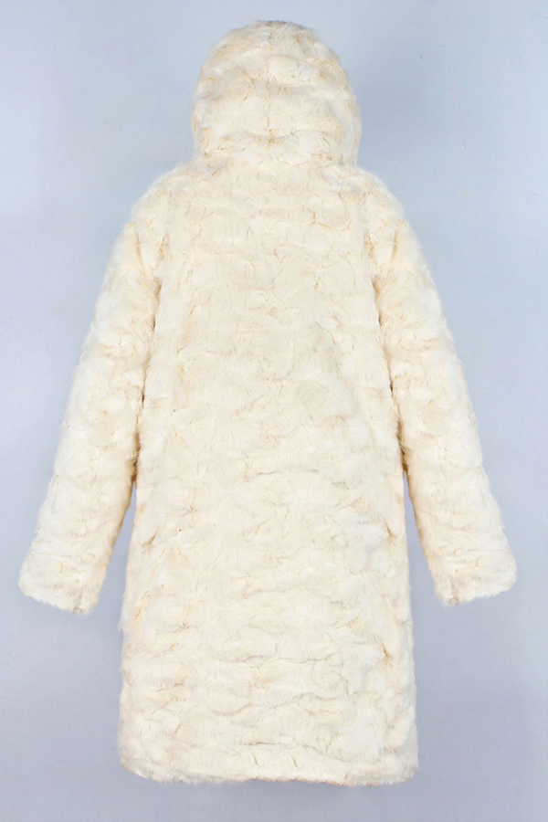 Lovely Casual Hooded Collar Beige Coat