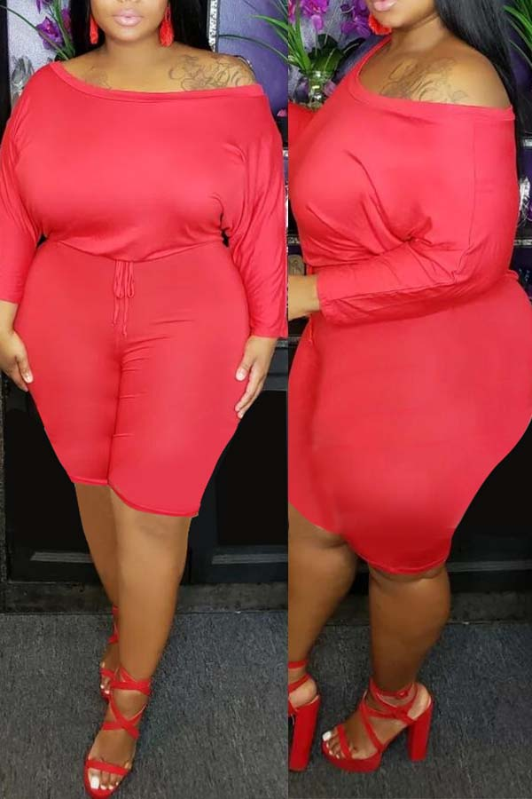 Lovely Casual Dew Shoulder Red Plus Size One-piece Romper