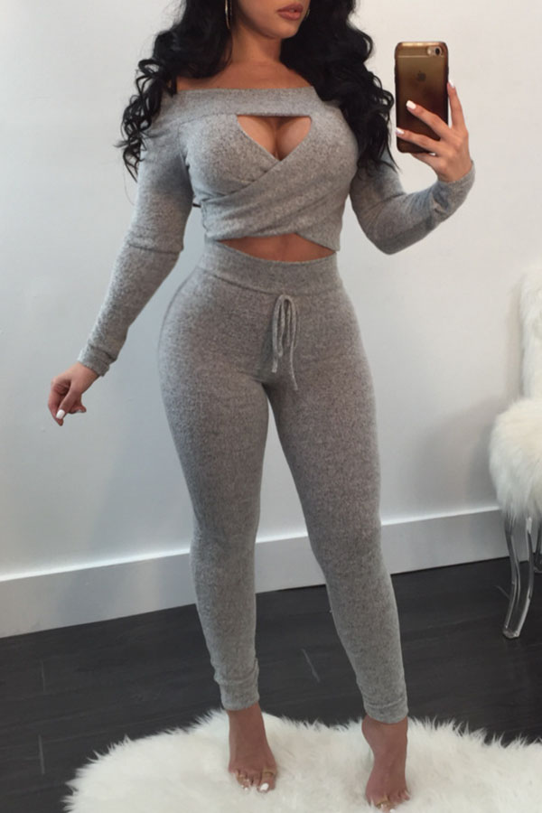 Lovely Casual Hollow-out Grey Two-piece Pants Set