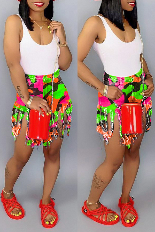 Lovely Casual Printed Green Shorts