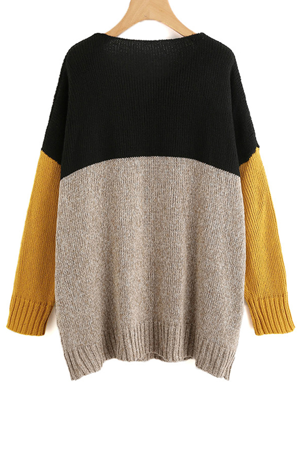 Lovely Leisure Patchwork Khaki Sweaters