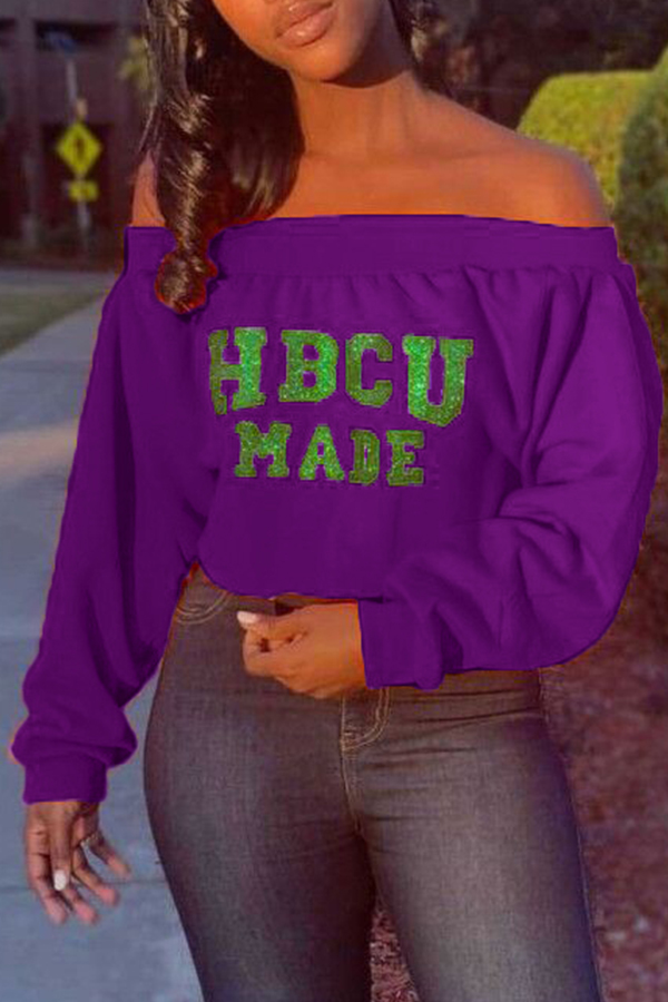 Lovely Casual Letter Printed Purple Sweatshirt Hoodies
