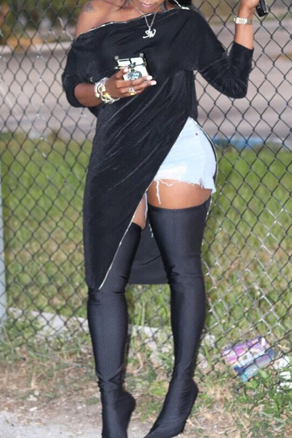 Lovely Trendy Dew Shoulder Asymmetrical Black Blouse