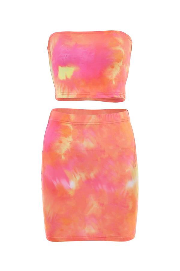 Lovely Casual Gradual Change Croci Two-piece Skirt Set