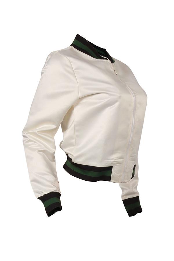 Lovely Casual Mandarin Collar Patchwork White Coat