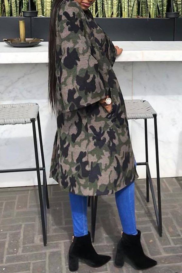Lovely Casual Camouflage Printed Grey Coat
