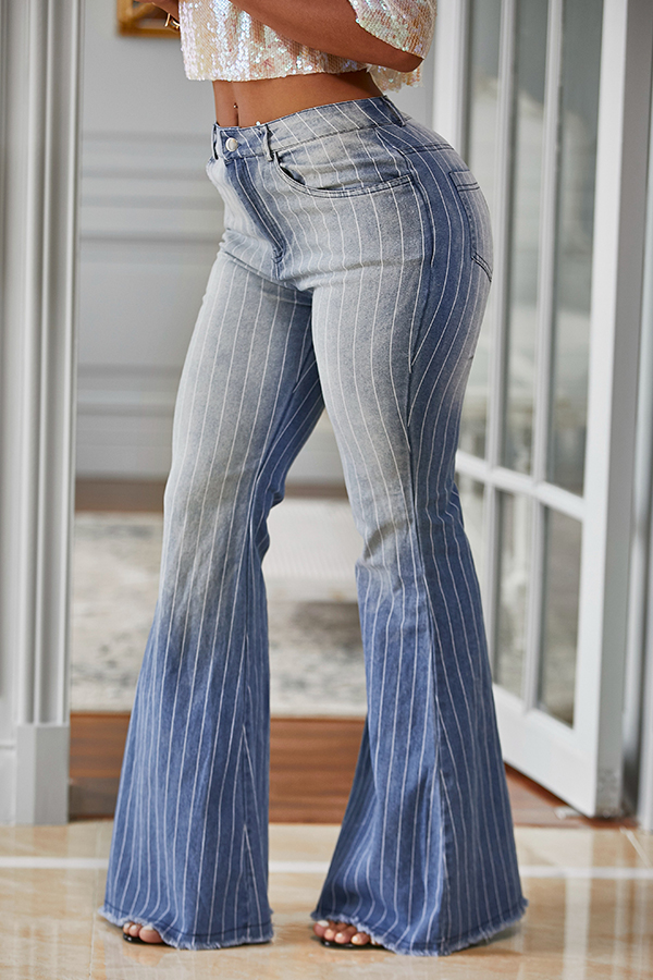 Lovely Trendy Striped Baby Blue Jeans