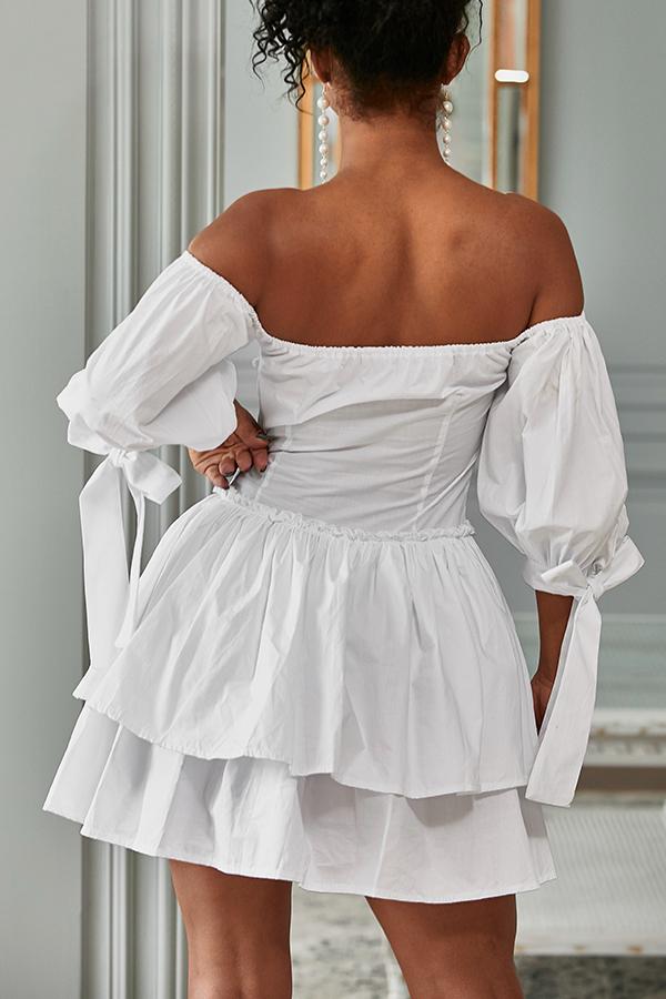 Lovely Stylish Off The Shoulder Ruffle White Mini Cake Dress