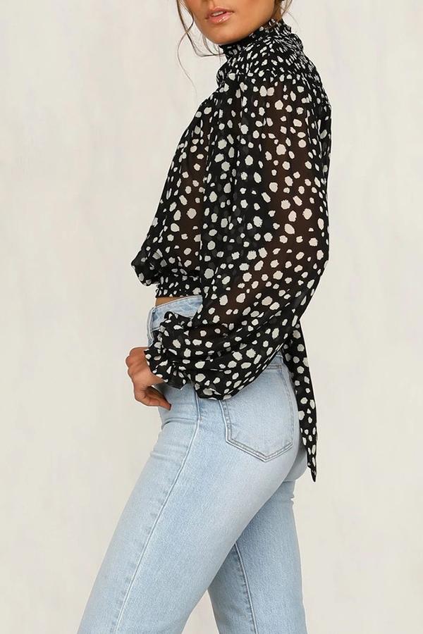 Lovely Sweet Turtleneck Dot Printed Black Blouse