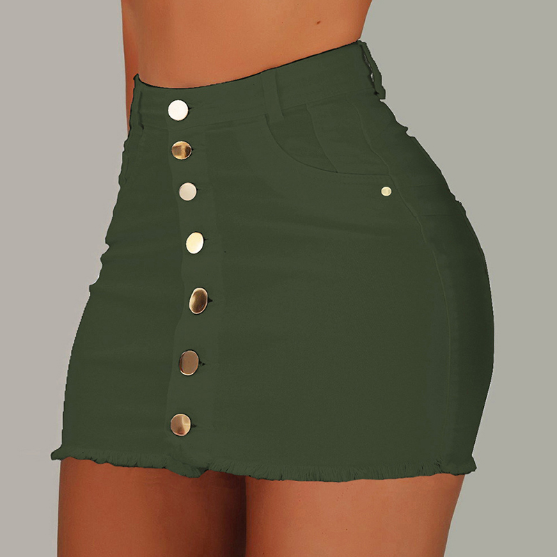 Lovely Casual Buttons Design Army Green Mini Skirt
