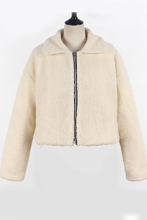 Lovely Casual Zipper Design Creamy White Coat