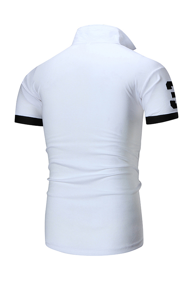 Lovely Casual  Patchwork White Polo Shirt