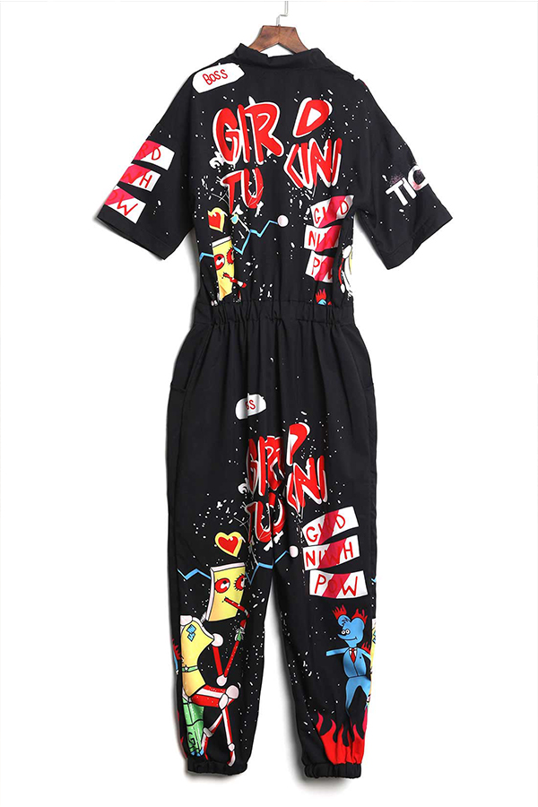 Lovely Euramerican Cartoon Printing Black Polyester One-piece Jumpsuit