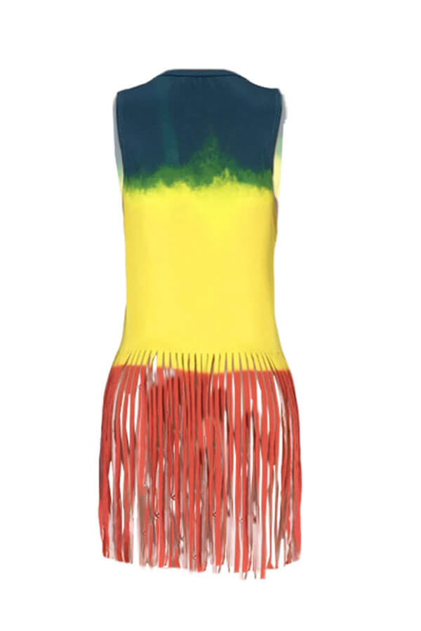 Lovely Casual Tassel Design Multicolor Tank Top