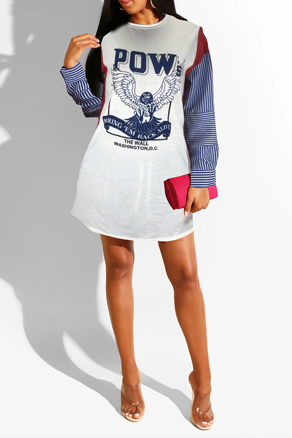 Lovely Casual Printed White Mini Dress