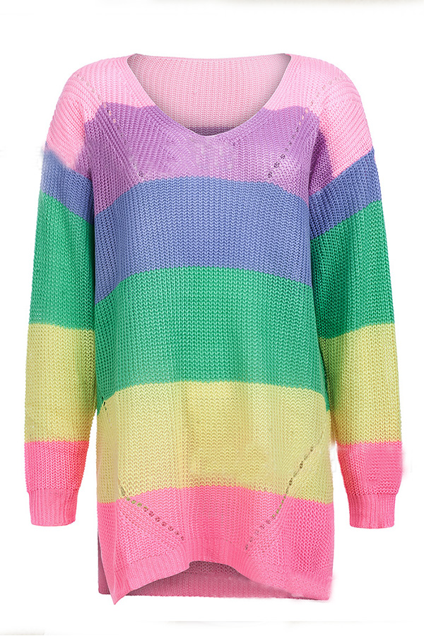 Lovely Leisure Color-lump Patchwork Pink Sweaters
