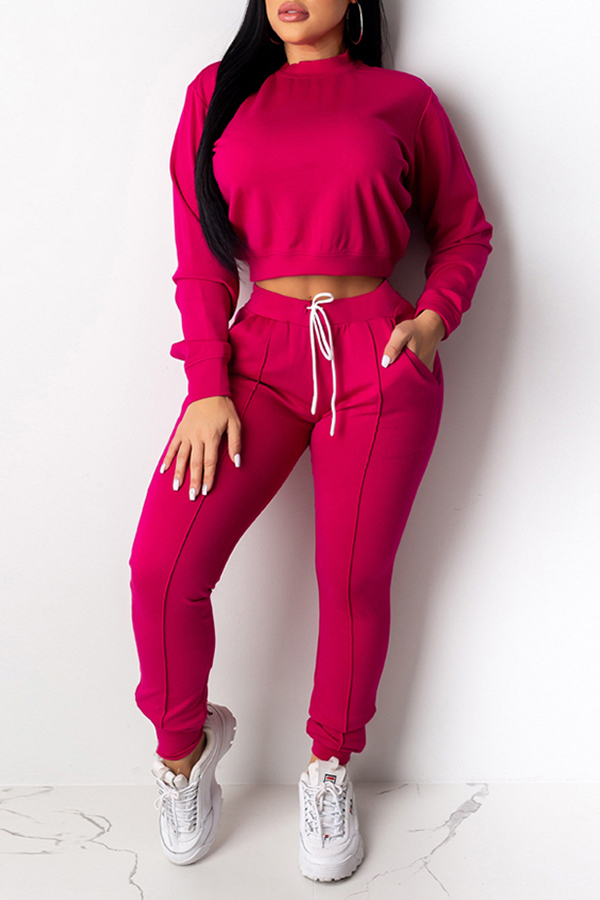 Lovely Casual Basic Rose Red Two-piece Pants Set