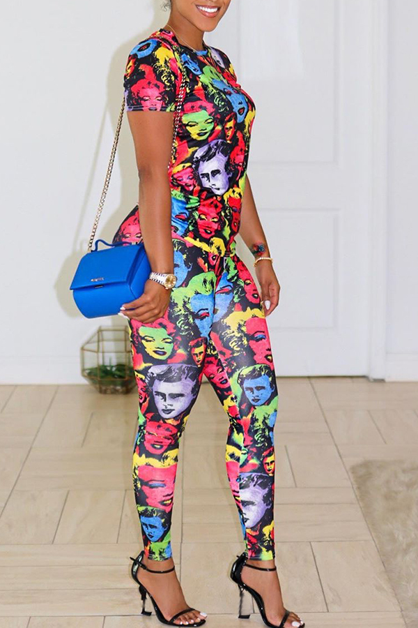 Lovely Casual Printed Mulricolor Two-piece Pants Set