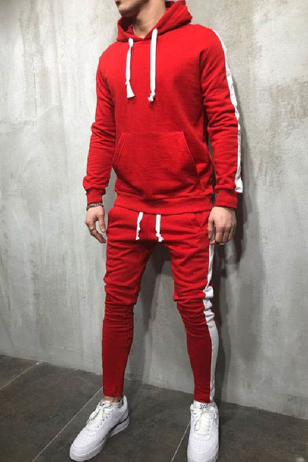 Lovely Casual Hooded Collar Patchwork Red Two-piece Pants Set