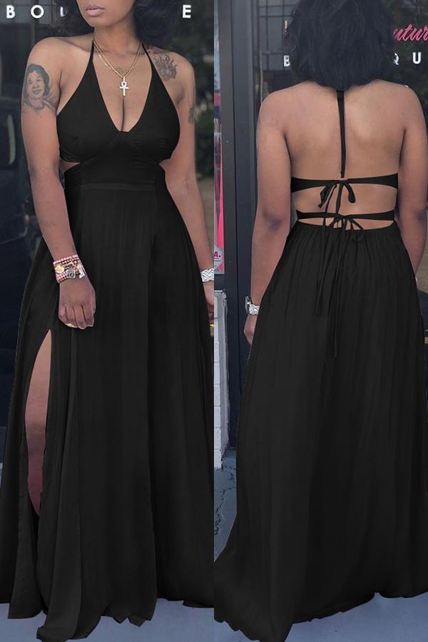 Lovely Trendy Spaghetti Straps Slit Black Floor Length Dress