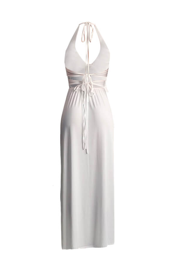 Lovely Trendy Spaghetti Straps White Floor Length Dress